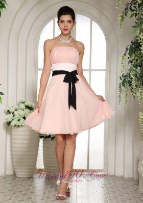 Cheap Bridesmaid Dress on Strapless Baby Pink Bridesmaid Minidress Black Sash