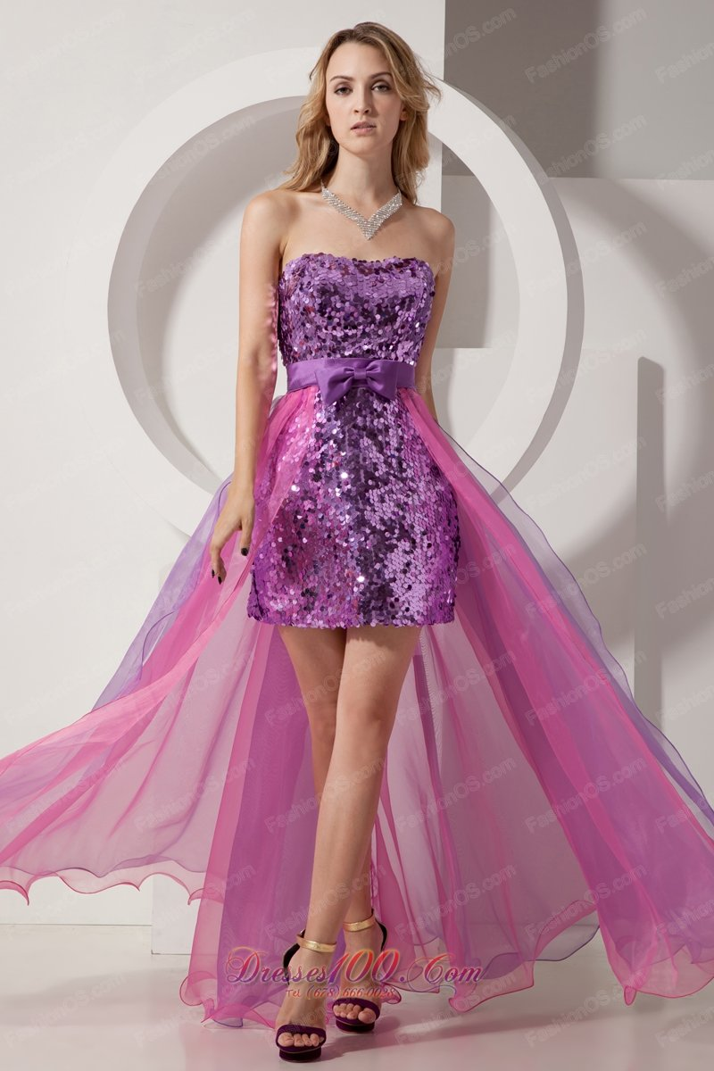 Purple Ruched Sequin Long Sleeve Nightclub Dress | Nightclub dresses ...